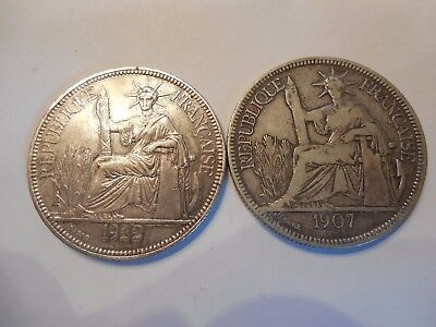 """2 French Indo-china Chine 1922 """"H"""" & 1907 """"A"""" Piastre Silver Coins Heaton """"H"""""""