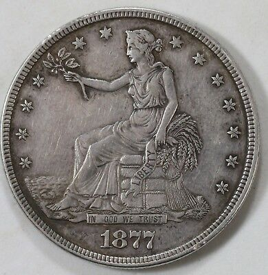 1877 United States Trade Dollar $1 Silver Coin