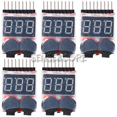 5PCS 2in1 1-8s RC Lipo Battery Voltage Tester Low Voltage Buzzer BB Alarm TE188
