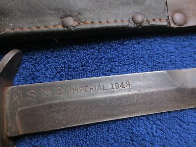 1943 Blade Marked WW2 ORIGINAL M3 KNIFE & SHEATH MADE BY IMPERIAL FIRST PATTERN