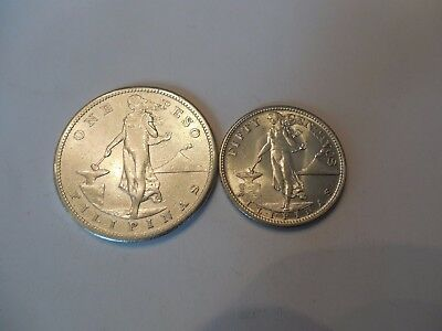2 Coin Lot Philippines 1909-S Peso (XF) & 1944 50 Fifty Centavos (BU)