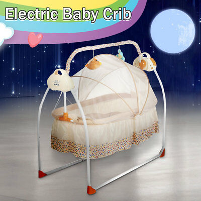 Big Space Electric Baby Crib Cradle Infant Rocker Auto-Swing Sleep Bed Baby Cots