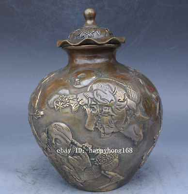 Chinese Tibet Old Brass Handwork kid pot Statues /qianlong mark