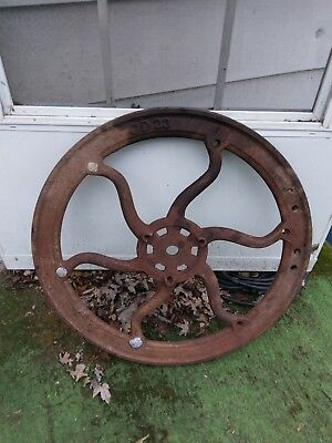 HUGE Vintage Cast Iron farm machine 1800s Gear Wheel Industrial Steampunk stamp