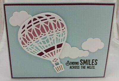 Lot of 6 Pretty Sending Smiles Hot Air Balloon cards made w/Stampin Up! supplies