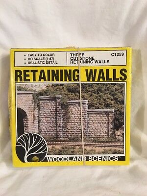 NEW Woodland Scenics Cut Stone Retaining Walls (3) C1259 In Original Box