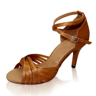 Adult Womens Classic Satin Latin Dance Shoes Brown Salsa Party Ballroom Shoes