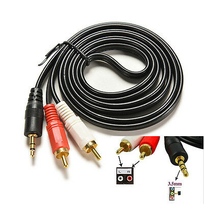 1.5m 5 ft Y 3.5mm  Male Plug to Dual 2RCA Jack Cable Stereo PC Audio Splitter ~!