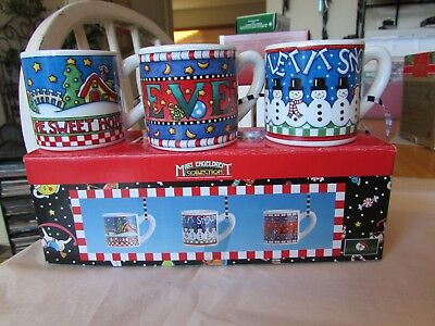 Mary Engelbreit Christmas Collection Three Mug Cup Ornament Set Lot Believe