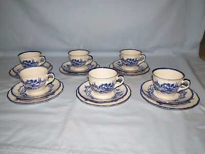 Royal Doulton Norfolk Blue and White set of SIX ONLY 6 TRIOS D6294