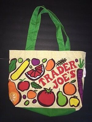 TRADER JOE'S Fruits Veggies Grocery Reusable Eco Friendly BAG NEW NWT Made USA