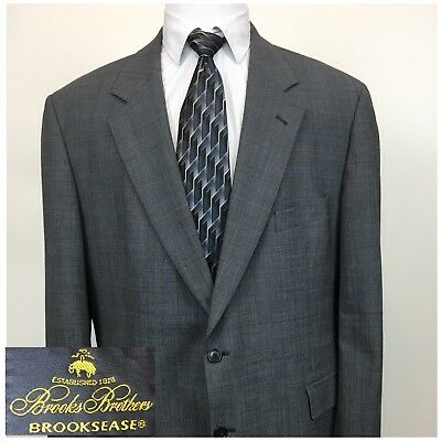 BROOKS BROTHERS Brooksease Wool Gray Windowpane Glen Blazer Sports Coat Mens 46R