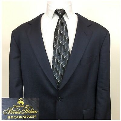 BROOKS BROTHERS Brooksease Navy Herringbone Wool Silk Blazer Sport Coat Mens 46R