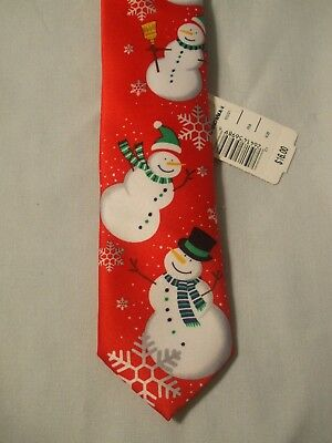 NWT! Boys Red CHRISTMAS SNOWMEN Polyester Clip On NECK TIE