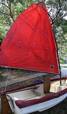 Dinghy Yacht Tender 8ft 2.4m Sailing Boat Oars Fibreglass unsinkable Sailboat