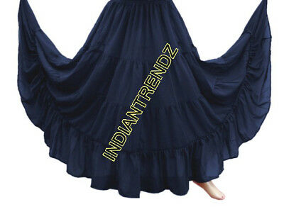 Navy Blue Chiffon 4 Tiered Gypsy Skirt Belly Dance Tribal Costume Panel Jupe