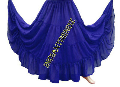 Royal Blue Chiffon 4 Tiered Gypsy Skirt Belly Dance Tribal Costume Panel Jupe