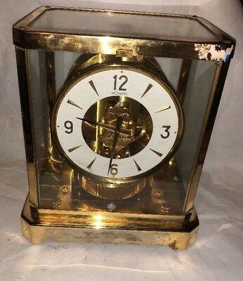 Atmos Jaeger Lecoultre Mantle Clock Gold Metal Vintage Swiss!