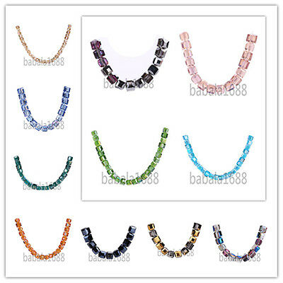 10mm Cube Square Glass Crystal Loose Spacer Beads Finding42 Colors Free Shipping
