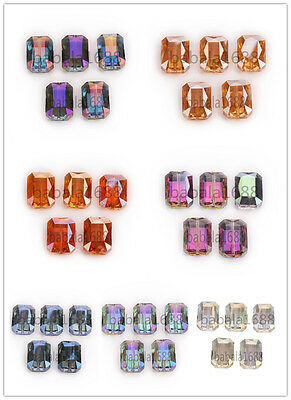 Wholesale 14X10mm Rectangle Square Faceted Crystal Glass Loose Spacer Bead