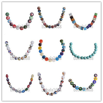 Wholesale Multi-Color Flower Millefiori Glass Loose Spacer Beads Findings 50Pcs
