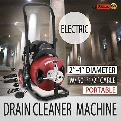 50FT*1/2'' Drain Auger Pipe Cleaner Cleaning Machine Clog Snake Sewer W/Cutter