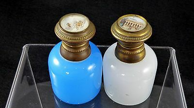 Beautiful Pair of Grand Tour Opaline Scent Bottles with Painted Lids. c.1860