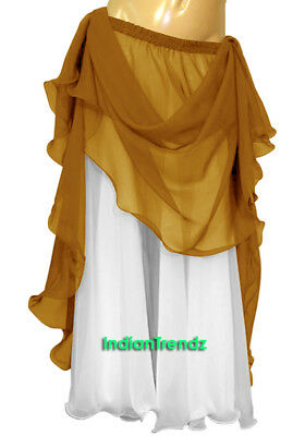 Golden & White 2 Color 2 Layer Reversible Skirt Full Circle Belly Dance Double