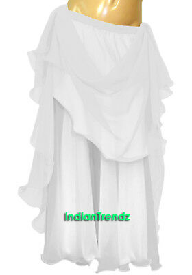 White & White 2 Color 2 Layer Reversible Skirt Full Circle Belly Dance Double