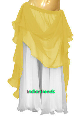 Yellow & White 2 Color 2 Layer Reversible Skirt Full Circle Belly Dance Double