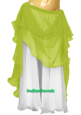 Yellow Green & White 2 Color 2 Layer Reversible Skirt Full Circle Belly Dance