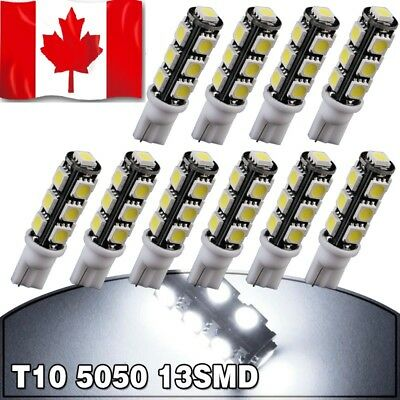 10PCS White T10 Wedge 5050 13SMD Backup Reverse LED Light Bulbs 192