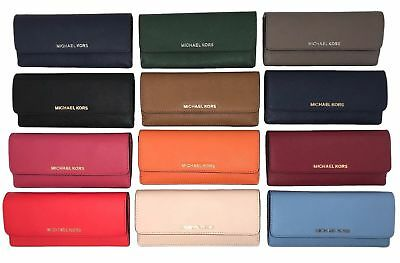 NWT Michael Kors Jet Set Travel Flat Leather Wallet (Select Color)