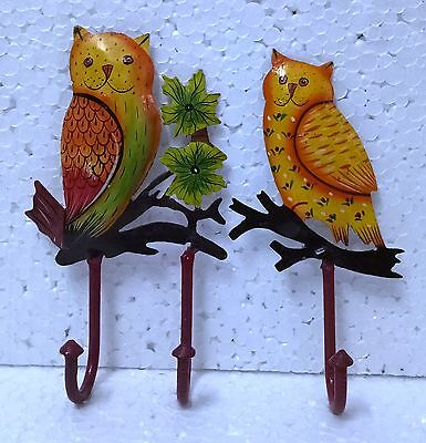 Iron Handcrafted Owl Hand Painted Wall Hook Hanger Wall Home Decor Art Lot of 2