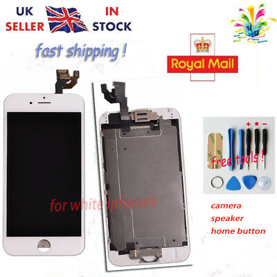 iPhone 6  Replacement Digitizer LCD Touch Screen White Home Button Camera UK