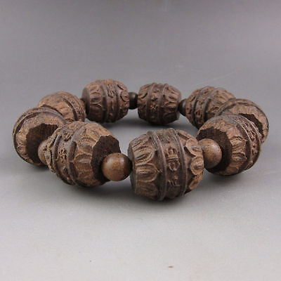 Old Chinese traditional wood carving  beaded bracelet