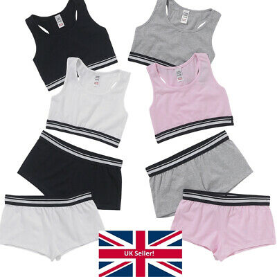 Just Essentials Girls Back To School 2 Pk Cotton Crop Tops Briefs Sporty Racer