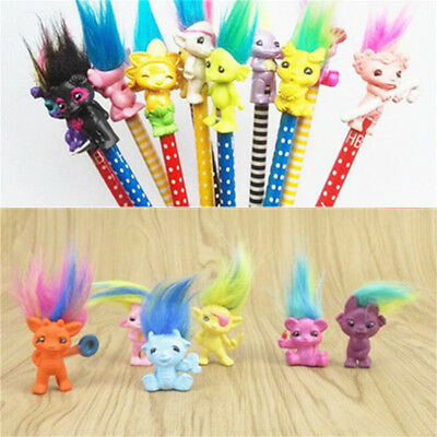 6pcs Lucky Troll Doll Leprechauns Kid doll Toy Pencil Pen Cake Topper Decoration