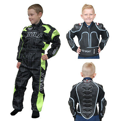 Kids Wulfsport MX Motocross Quad Overall Defender Jacket Armour Fluo Set #O3
