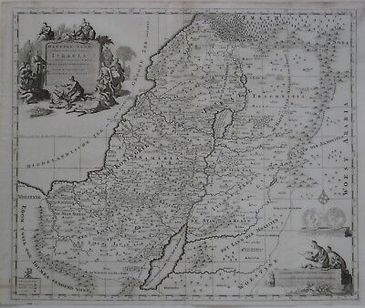 Original 1700 Mortier Map HOLY LAND Israel Twelve Tribes Christ Healing the Sick