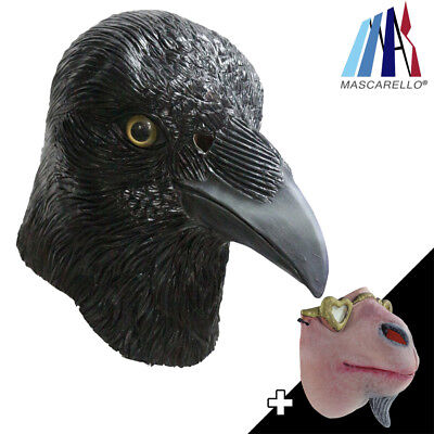 MASCARELLO Black Eagle Latex Animal Bird Head Mask Half Face Goat Party Costumes