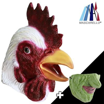 MASCARELLO Chicken Rooster Animal Head Latex Masks Half Face Party Costumes Prop