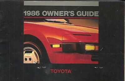 hh - 1986 TOYOTA Owners Guide Camry Celica Cressida Celica Corolla Tercel