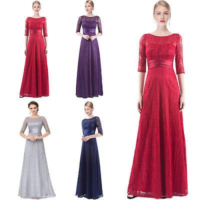 Long Lace Half Sleeve Evening Formal Party Ball Gown Prom Bridesmaid Maxi Dress