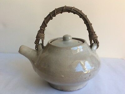 Vintage Japanese White Glazed Studio Art Dobin Teapot w/ Rattan Handle