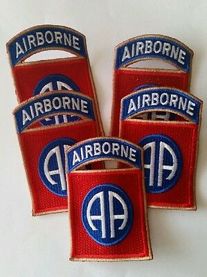 Lot of 5 patches 82nd AIRBORNE US WWII cut edge OD border REPRO