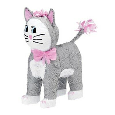 Grey Cat Pinata | Party Game | Decoration | Pink Collar | Purr-fect | Kitten