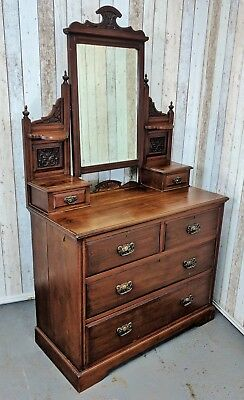 An Antique Victorian Mahogany Dressing Table Chest of Drawers ~Delivery Availabl