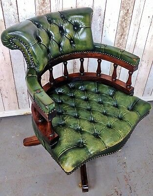 An Antique Style Green Leather Button Captains Chair ~Delivery Available~