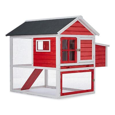 Oneconcept Decorative Hen House Coop Villa Farm Chicken Nest Wood Red *free P&p*
